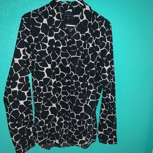 Button black and white long sleeve shirt